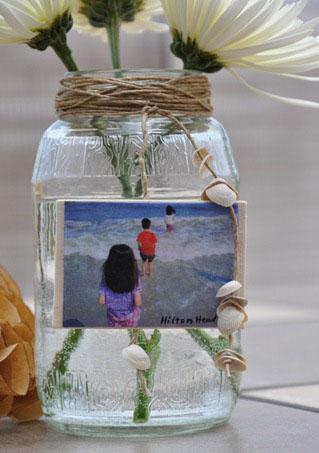 Прозрачная ваза из банки своими руками - фото
