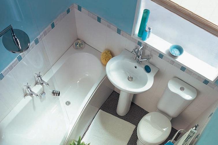 Интерьер для маленькой ванной комнаты - фото