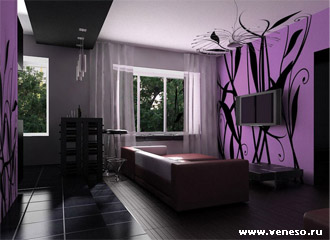 фиолетовый цвет в интерьере дома - фото
